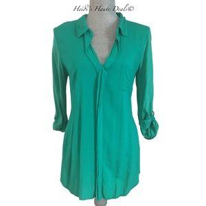 Splendid Green Mixed Media Shirting Tunic M Medium